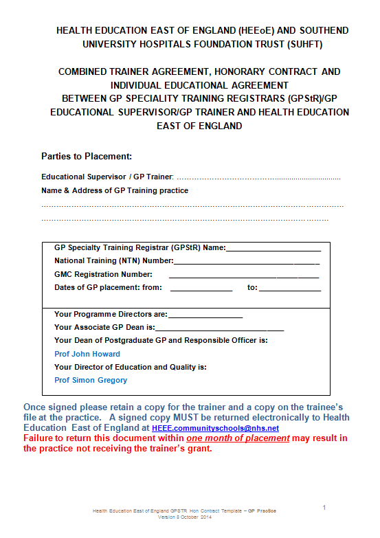 The Lead Employer – Training Agreement Contract